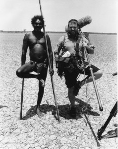 Sound recordist and local Yolngu man having a laugh during production.