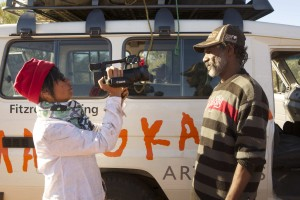 Director Nicole Ma films Tom 'Putuparri' Lawford during the final trip to Kurtal.